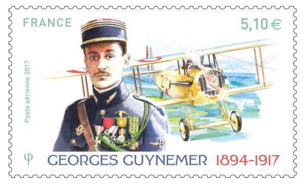 France. Georges Guynemer, poste aérienne, 11 septembre 2017 (dessin de Jame's Prunier, gravure de Marie-Noëlle Goffin, impression offset / taille-douce) (© La Poste / J. Prunier / MN. Goffin)