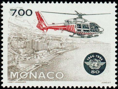 Monaco : 50ème anniversaire de l'OACI, 1994 (dessin de Jean-Paul Véret-Lemarinier, gravure de Claude Jumelet, impression taille-douce) (© Monaco OETP / JP. Véret-Lemarinier)