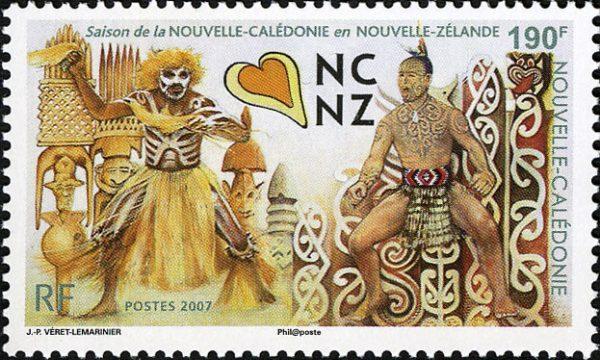 Nouvelle-Calédonie : Saison de Nouvelle-Calédonie en Nouvelle-Zélande. Danseur mélanésien et le haka d'un guerrier maori, 2007 (dessin de Jean-Paul Véret-Lemarinier, impression offset) (© Nouvelle-Calédonie OETP / JP. Véret-Lemarinier)