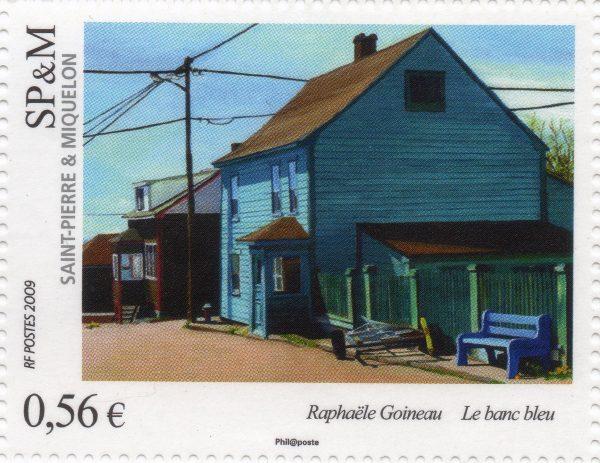 Saint-Pierre et Miquelon. Art « Le blanc bleu », tableau de Raphaëlle Goineau, 2009 (création de Raphaëlle Goineau, impression offset) (© Saint-Pierre et Miquelon La Poste / R. Goineau)