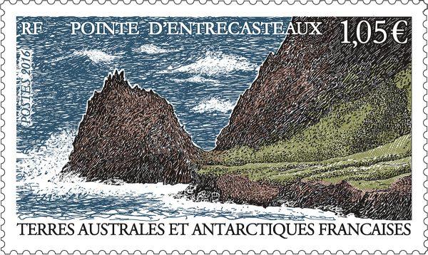 TAAF : Pointe d'Entrecasteaux, 2016 (dessin et gravure d'Eve Luquet, impression taille-douce) (© TAAF / E. Luquet)