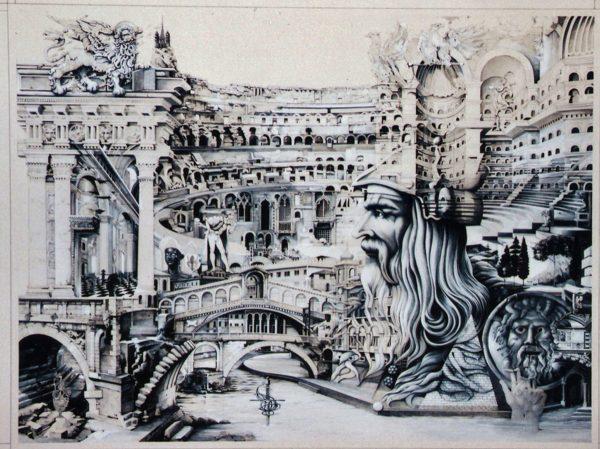 Jean-Paul Véret-Lemarinier, Italie, gouache, 1981 (participation au Prix Jacques Callot du salon philatélique d'automne) (© JP. Véret-Lemarinier)