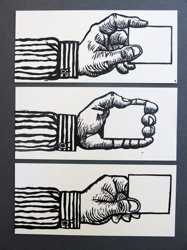 Christophe Laborde-Balen, éditions de cartes de correspondances appelées « Cartes pour messages courts », numérotées et signées. Gravure en taille d'épargne. Impression typographique, 2012 (© C. Laborde-Balen)