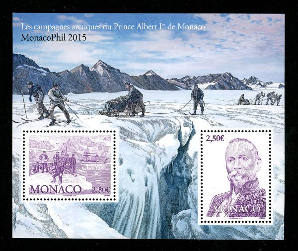 Monaco. Les campagnes arctiques du Prince Albert Ier de Monaco, Monacophil 2015 (création et gravure de Martin Mörck, impression taille-douce et offset) (© Monaco OETP / M. Mörck)
