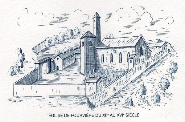 France. Lyon, Notre-Dame de Fourvière, illustration du document philatélique officiel, 1997 (gravure de Guy Vigoureux)  (© La Poste / G. Vigoureux)