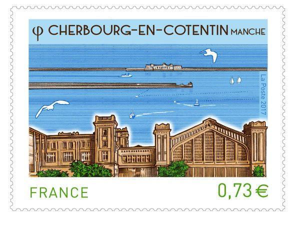 France. Cherbourg en Cotentin, 2017 (création et gravure d'Elsa Catelin, impression taille-douce) (© La Poste / E. Catelin)