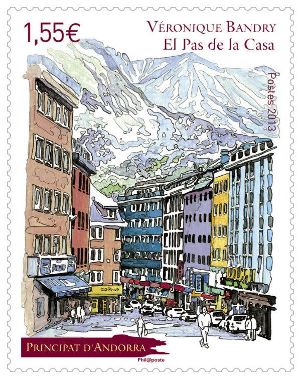 Andorre français : Pas-de-la-Case, 2013 (dessin de Véronique Bandry, impression offset) (© La Poste / V. Bandry)
