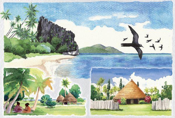 Jean-Jacques  Mahuteau, Carnets de voyage, aquarelles, illustrations pour le Livre des timbres de Nouvelle-Calédonie, 2012 et 2013 (© JJ. Mahuteau)