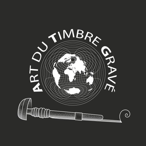 Logo Association du Timbre Gravé - noir et blanc (© 2005 ATG/ P. Albuisson)