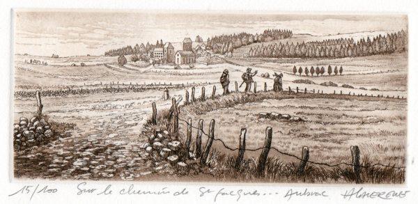 André Lavergne, Sur la route de Saint-Jacques, Aubrac, eau-forte et aquatinte (© A. Lavergne)