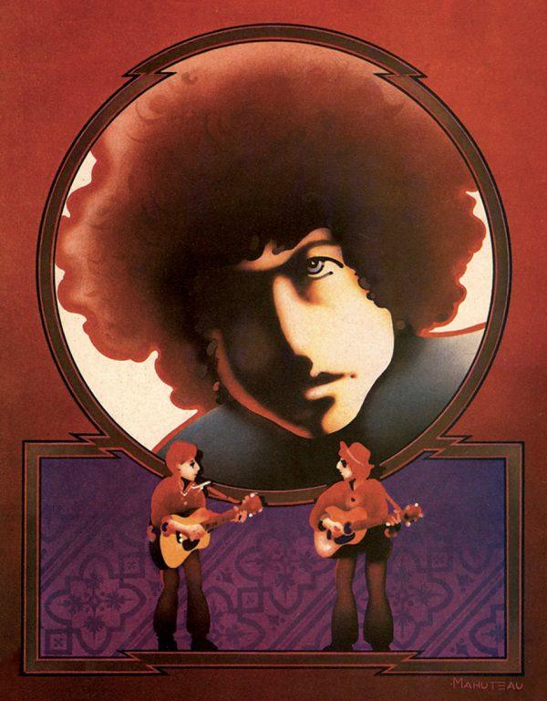 Jean-Jacques Mahuteau, Bob Dylan avant/après, gouache et acrylique à l'aérographe, illustration pour Rock & Folk, 1975 (© JJ. Mahuteau)