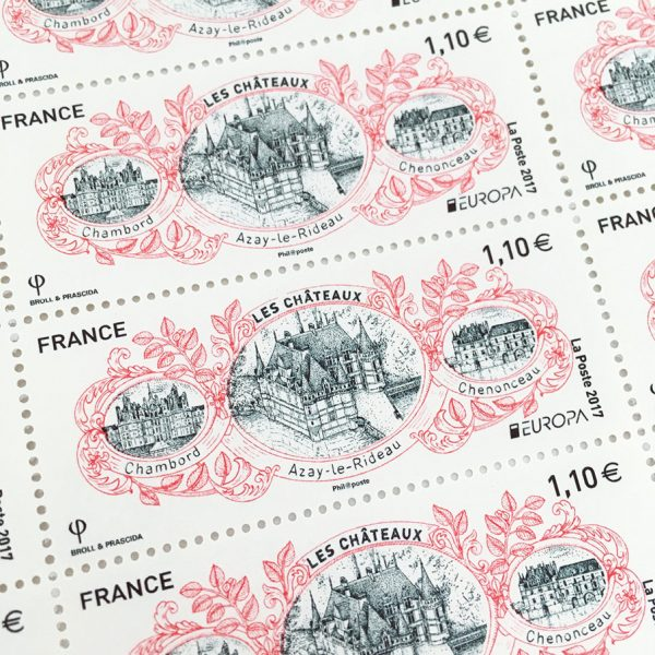 Europa. Les châteaux Chambord, Azay le Rideau, Chenonceau, 2017 (création de Broll & Prascida, impression héliogravure) (© La Poste / Broll & Prascida)