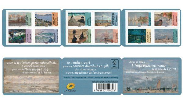 France. Carnet de timbres-poste autoadhésifs, L'Impressionnisme. Tableaux sur le thème de l'eau, 2013 (conception graphique Valérie Besser, impression héliogravure) (© La Poste / V. Besser)