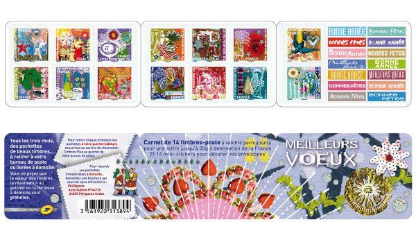 France. Carnet de timbres-poste autoadhésifs Meilleurs vœux, 2010 (création Valérie Besser, impression héliogravure) (© La Poste / V. Besser)