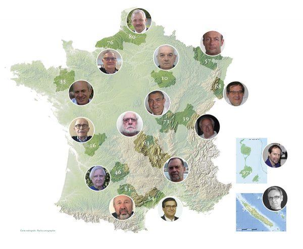 Carte des 16 correspondants territoriaux de l'ATG (2017)