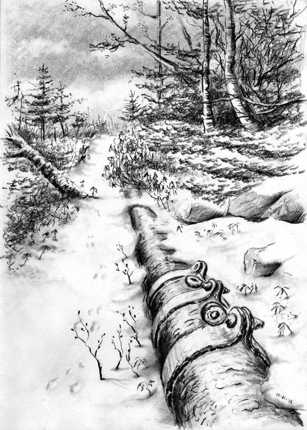 Patrick Dérible, Chemin des conduites, hiver, crayon graphite (© P. Dérible)
