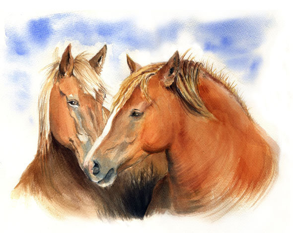 Claude Perchat, Chevaux, aquarelle, 2015 © (C. Perchat)
