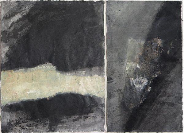 Eve Luquet, Diptyque, encre et huile sur papier marouflé sur toile, 65 x 46 cm, 2015 (© E. Luquet)
