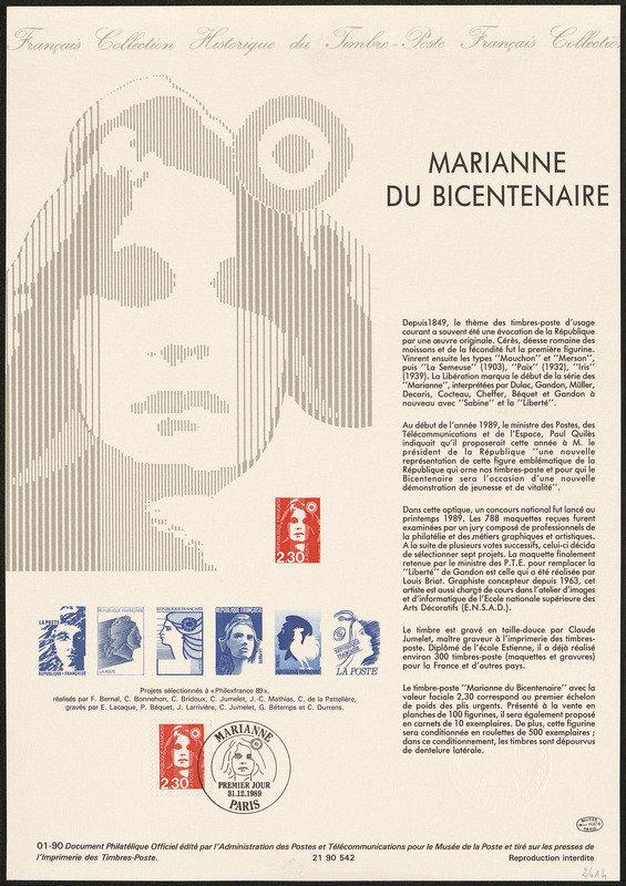 France : Marianne, non émis, concours 1989 (dessin de Cyril de La Patellière, gravure de Claude Durrens, impression taille-douce) (© La Poste / C. de La Patellière / C. Durrens)