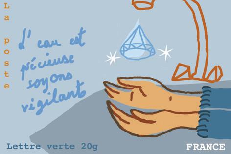 France : Ensemble, agissons pour préserver le climat, 2014 (création de France Dumas, bande carnet de 12 timbres-poste auto-adhésifs, impression héliogravure). L'eau est précieuse, soyons vigilants (projet de timbre) (© La Poste / F. Dumas)