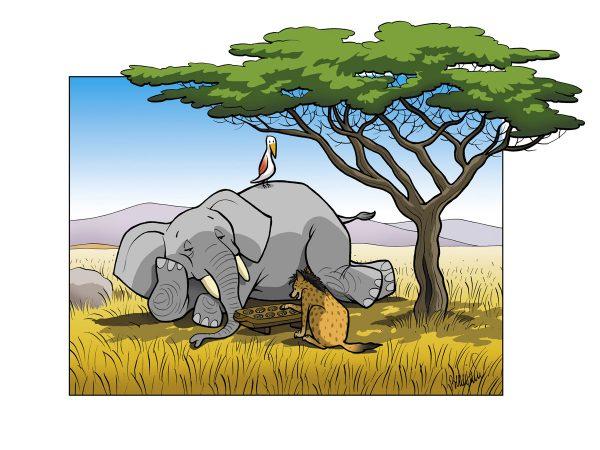 Sophie Beaujard, L'éléphant et la hyène jouant à l'awalé, dessin, 2002 (© S. Beaujard)