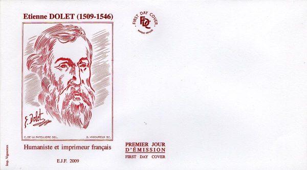 Étienne Dolet, 2009, illustration pour enveloppe Premier jour d'émission (Dessin de Cyril de La Patellière, gravure de Guy Vigoureux) (© FDC / C. de La Patellière / G. Vigoureux)