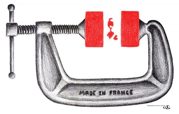 Patrick Dérible, Étau, crayons de couleur (© P. Dérible)