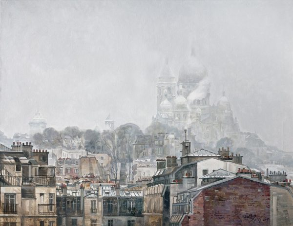 Elena ZaiKa, Tombe la Neige, huile sur toile, 100 x 130 cm, 2015 (© E. Zaïka)