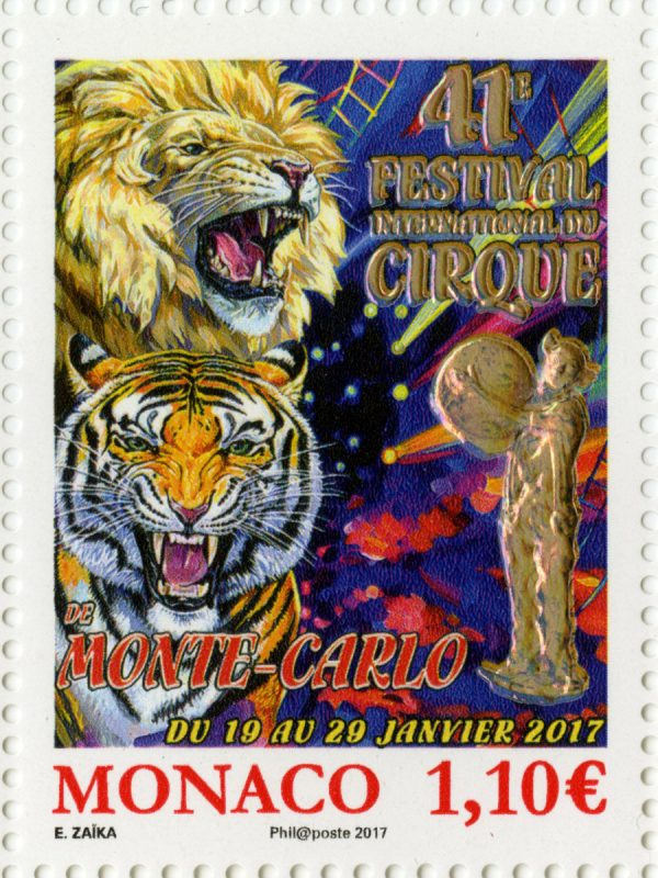 Monaco. 41ème festival international du cirque, 2017 (création d'Elena Zaïka, huile sur toile, impression héliogravure) (© Monaco OETP / E. Zaïka)
