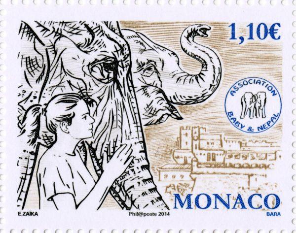 Monaco. Association Baby et Népal, 2014 (création d'Elena Zaïka, aquarelle sur papier, gravure de Pierre Bara, impression taille-douce) (© Monaco OETP / E. Zaïka / P. Bara)