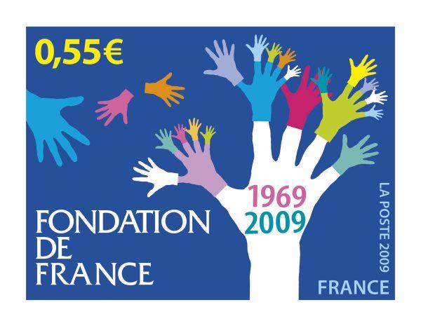France. 40ème anniversaire de la Fondation de France, 2009 (maquette du timbre-poste, création de Stéphanie Ghinéa, illustration vectorielle) (Timbre-poste en héliogravure) (© La Poste / S. Ghinéa)