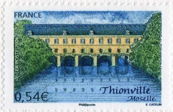 France. Thionville, le pont-écluse sud, 2006 (dessin et gravure d'Elsa Catelin, impression taille-douce) (© La Poste / E. Catelin)