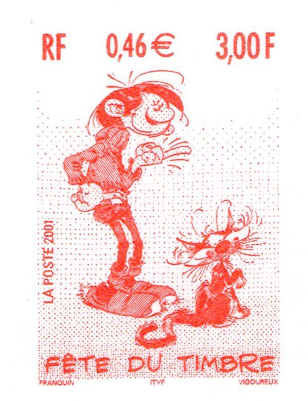 Fête du timbre, Gaston Lagaffe, timbre du document philatélique officiel, 2001 (personnage d'André Franquin, gravure de Guy Vigoureux, impression taille-douce) (© La Poste / A. Franquin / G. Vigoureux)