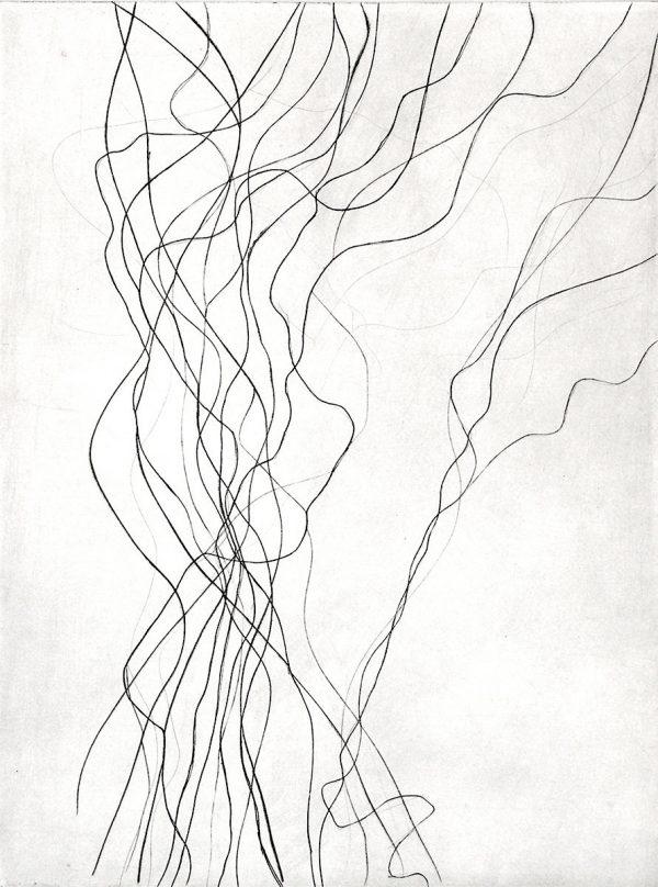 Eve Luquet, Gravure « Lignes 1 », pointe sèche sur zinc, format plaque 18 x 24 cm, 2016 (© E. Luquet)