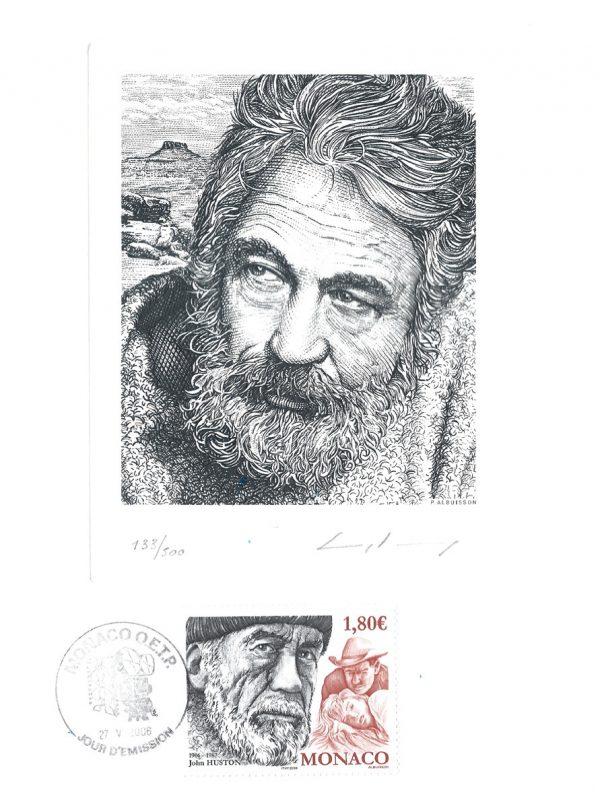 Portrait de John Huston, gravure de Pierre Albuisson, 2006 (souvenir philatélique) (© P. Albuisson)