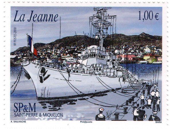 Saint-Pierre et Miquelon. La Jeanne, 2010 (dessin de  A. Bailhache, gravure de Pierre Bara, impression taille-douce) (© SPM / A. Bailhache / P. Bara)