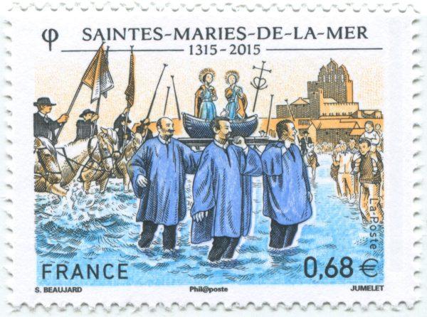 La confrérie des Saintes-Maries-de-la-Mer, 2015 (création de Sophie Beaujard, gravure de Claude Jumelet, impression taille-douce) (© La Poste / S. Beaujard / C. Jumelet)