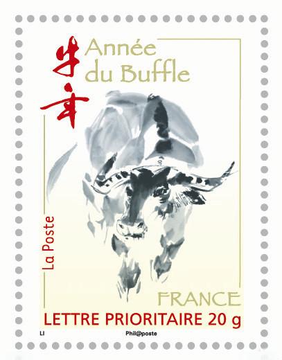 France. Année lunaire chinoise du Buffle, 2009 (création de Zhongyao Li, impression héliogravure) (© La Poste / Z. Li)