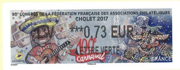 Vignette Lisa, 90ème Congrès de la FFAP, Cholet, Carnaval de Cholet de jour et de nuit, 2017 (dessin de Véronique Bandry, mise en page Valérie Besser) (© La Poste / V. Bandry)