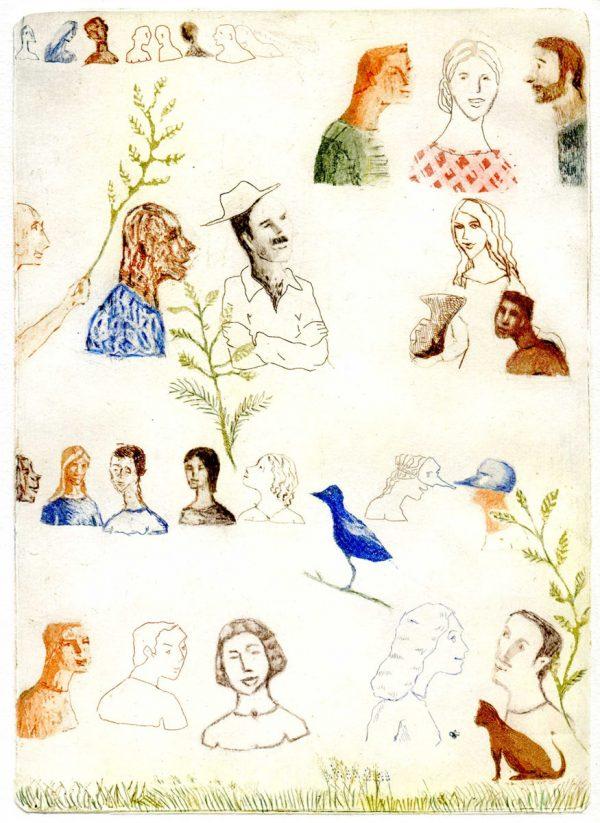 France Dumas, L'oiseau bleu, eau-forte et aquatinte (© F. Dumas)