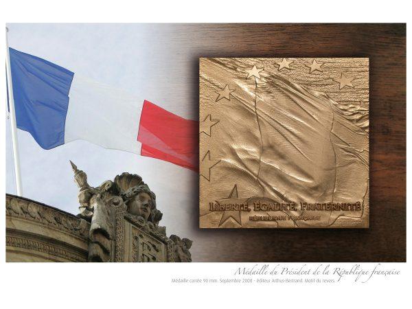 Nicolas Salagnac, Médaille du Président de la République française, Nicolas Sarkozy, édition Arthus-Bertrand, revers, 2008 (© N. Salagnac)