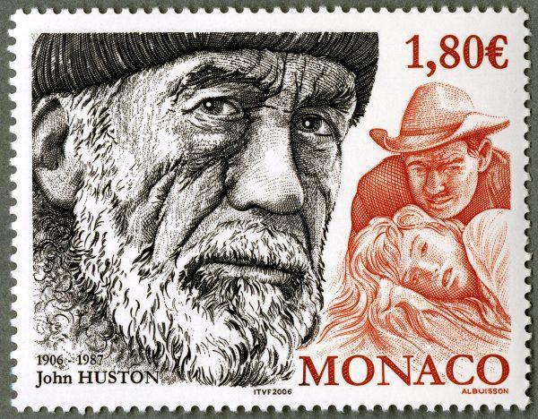 Monaco : John Huston, 2006 (dessin et gravure de Pierre Albuisson, impression taille-douce) (© Monaco OETP / P. Albuisson)