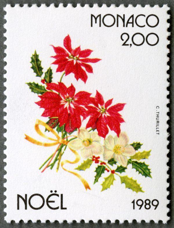 Monaco. Noël. Poinsétia, houx et rose de Noël, 1989 (Dessin de Colette Thurillet, impression offset) (© Monaco OETP / C. Thurillet)