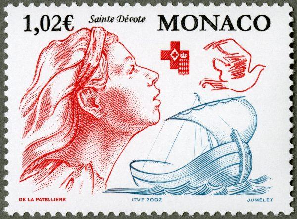Monaco : Croix-Rouge, Sainte Dévote, 2002 (dessin de Cyril de La Patellière, gravure de Claude Jumelet, impression taille-douce) (© Monaco OETP / C. de La Patellière / C. Jumelet)
