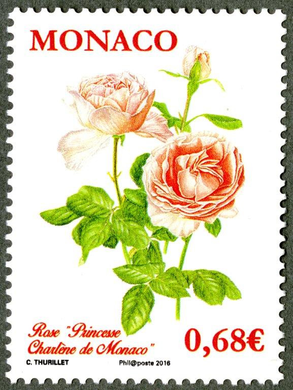 Monaco. Roses « Princesse Charlène » de Monaco, 2015 (dessin de Colette Thurillet, impression héliogravure) Timbre-poste. (© Monaco OETP / C. Thurillet)