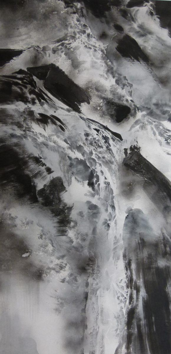 Zhongyao Li, La mer, lavis sur papier de riz, 60 x 130, 2011 (© Z. Li)