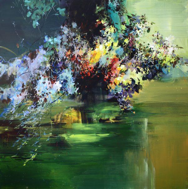 Zhongyao Li, Fleurs sur l'étang, acrylique sur toile, 100 x 100 cm, 2009 (© Z. Li)