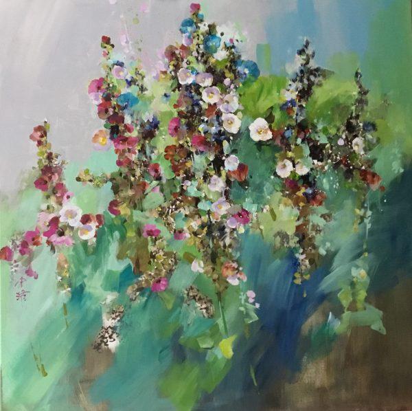 Zhongyao Li, Roses trémières, acrylique sur toile, 100 x 100 cm, 2009 (© Z. Li)