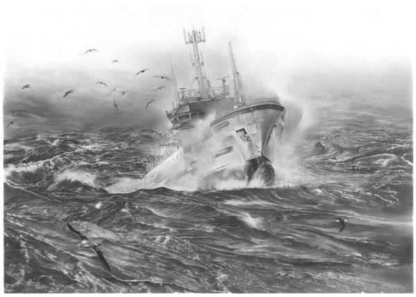 Nadia Charles, Un palangrier dans une mer agitée, crayon graphite, 2015 (© N. Charles)