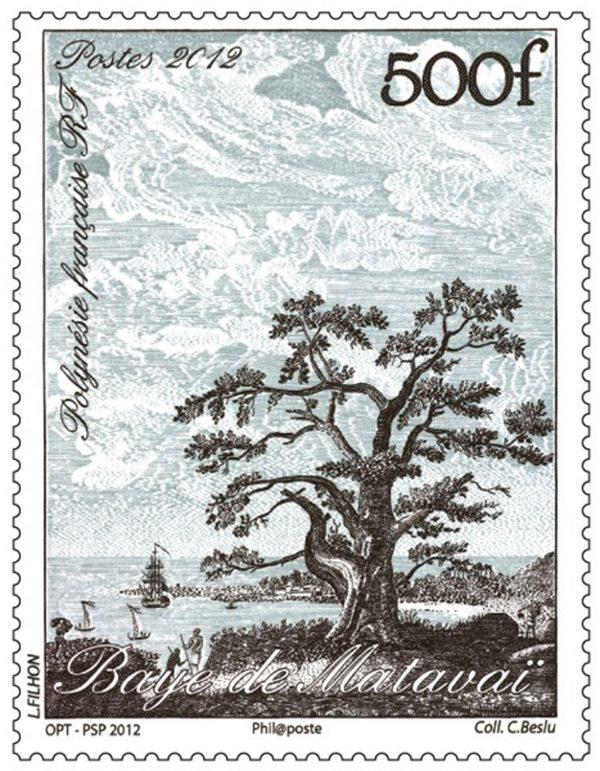 Polynésie française. Baye de Matavaï, 2012 (d'après une gravure ancienne, gravure de Line Filhon, impression taille-douce) (© OPT / L. Filhon)